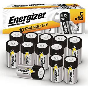 Batterier Energizer Industrial Alkaline C, pakke a 12 stk.