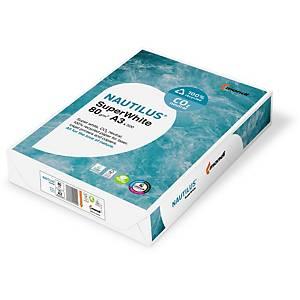 Papier pour photocopieur Nautilus SuperWhite A3, 80 g/m2, blanc,pqt de 500 flles