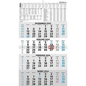 Viermonatskalender 2020 Zettler 959, 4 Monate / 1 Seite, 330 x 650mm