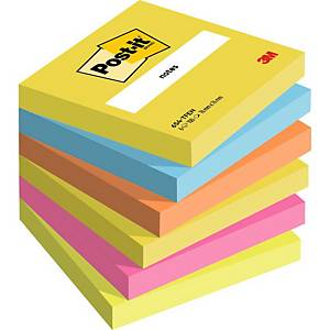 Pack 6 blocos 100 notas adesivas Post-it - cores vibrantes - 76x76mm