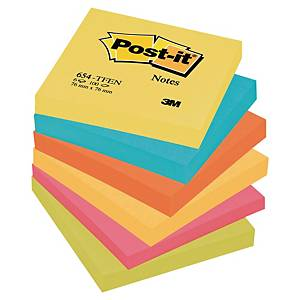 Notisblock Post-it, 76 x 76 mm, regnbågsfärgade (neon), förp. med 6 block