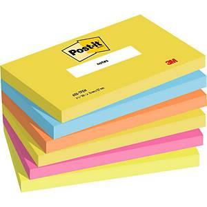 Post-it® Notes 655TFEN, kleuren vitaliteit, 76 x 127 mm, per 6