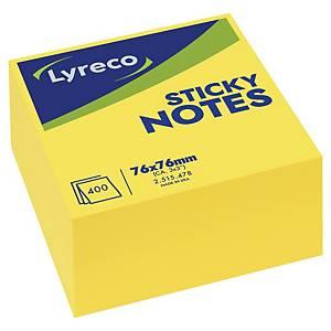 Lyreco kubus memoblok, herkleefbaar, helder geel, 76 x 76 mm, per stuk