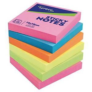 Blocs mémo Lyreco, 5 couleurs fluo vives, recollables, 75 x 75 mm, les 6
