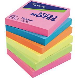 Haftnotizen Lyreco Brillant, 76x76mm, 100 Blatt, farbig, 6 Stück