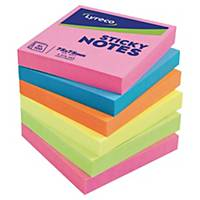Lyreco Brilliant Sticky Notes 76x76mm 100-Sheets Asst - Pack Of 6