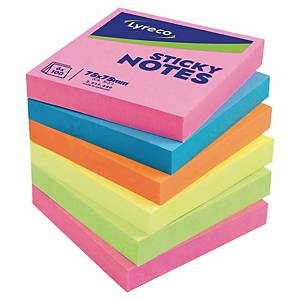 Lyreco memoblokken, 5 felle neonkleuren, herkleefbaar, 75 x 75 mm, per 6