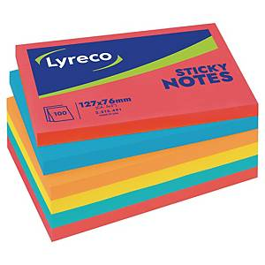 Lyreco Repositionable Colour Notes 3 inch x 5 inch - Pack of 6