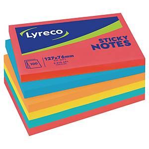 Lyreco memoblokken, 5 felle neonkleuren, herkleefbaar, 76 x 127 mm, per 6