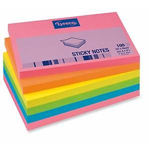 Pack 6 blocos 100 notas adesivas Lyreco - sortido - 76x127mm