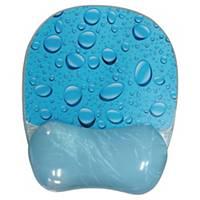 Tapis de souris avec repose-poignet en gel Aidata GL012W, motif eau bleue