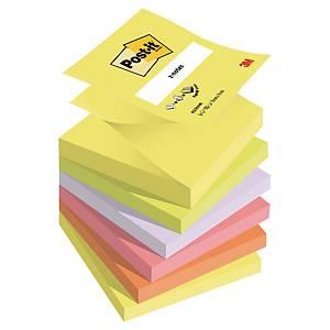 Haftnotizen Post-it Z-Notes, 76x76 mm, Neon farben, Pk. à 6 Stk.