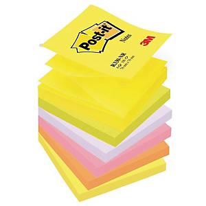 Karteczki Post-it® Z-Notes, Neonowe, 76 x 76 mm, 6 bloczków po 100 sztuk