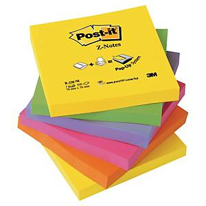Notisblock Post-it Super Sticky Z-notes, 76 x 76 mm, neonfärger, 6 block/fp