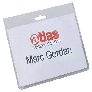 DURABLE SECURITY NAME BADGES WITHOUT CLIPS - PACK OF 20
