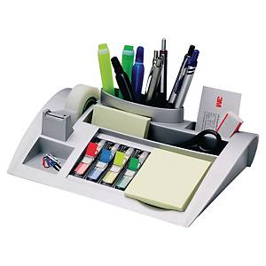 Schreibtischorganizer 3M C50 mit Haftnotizen, Indexspender und Klebeband, silber