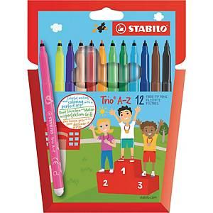 Stabilo® Trio A-Z viltstiften, assorti kleuren, doos van 12 stiften