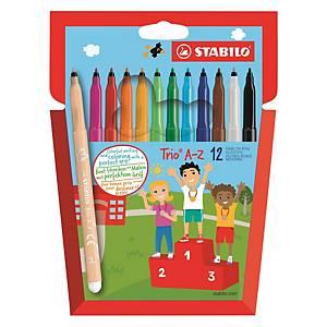 Stabilo trio A-Z felt pens assorted colours - pack of 12