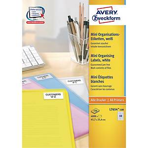 Adresseetiketter Avery, til laser, mini, 45,7 x 25,4 mm, æske a 4.000 stk.