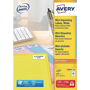 Adresseetiketter Avery, til laserskriver, mini, 45,7 x 25,4 mm, eske à 4000 stk.