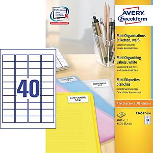 Avery L7654-100 Labels, 45.7 x 25.4 mm 40 Labels Per Sheet, 4000 Labels Per Pack
