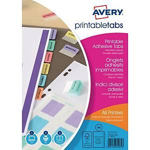 Registertabs Avery Zweckform 05412501, A4, 96 Tabs, 4 Bogen á 24 Tabs, 6 Farben