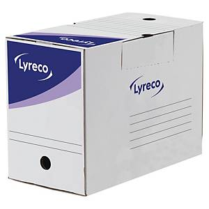 Arkiveske Lyreco, manuell, 20 cm rygg, hvit