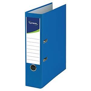 Classeurs à levier Lyreco, A4, dos 8 cm, carton recyclé, bleu, le classeur
