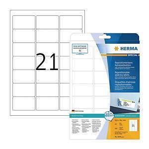 HERMA 5074 多次黏貼標籤 63.5x38.1毫米 每張21個標籤