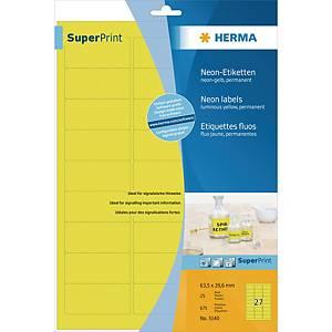 Herma 5140 fluorescerende etiketten, geel, 63,5 x 29,6 mm, doos van 540