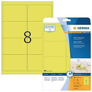 Herma 5144 fluorescerende etiketten, geel, 99,1 x 67,7 mm, doos van 160