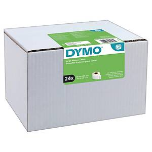 Dymo LW Large Address Labels, 36mm X 89mm, 24 Rolls of 130 Easy-Peel Labels