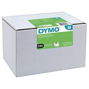Pack de 24 rollos de 130 etiquetas adhesivas Dymo LW - 89 x 28 mm - blanco