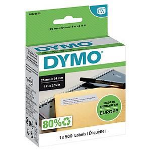 Dymo 11352 etiketten voor labelprinter, 54 x 25 mm, wit, rol van 500 etiketten