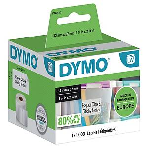 Dymo 11354 etiketten voor labelprinter, 57 x 32 mm, wit, rol van 1000 etiketten