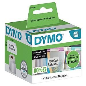 Étiquettes amovibles Dymo 11354, l 57 x H 32 mm, 1 rouleau de 1000