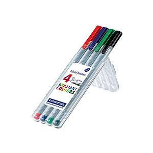 Staedtler 334 Triplus Assorted Fineliners 0.3mm - Wallet of 4