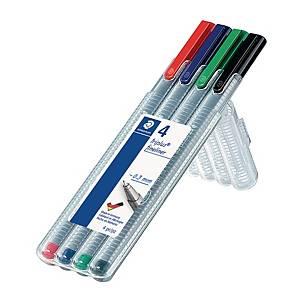 Staedtler Triplus 334 kuitukärkikynä 0,3mm värilajitelma,1 kpl=4 kynää