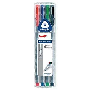 Fineliner Staedtler triplus 334, 0,3 mm, pakke à 4 farger
