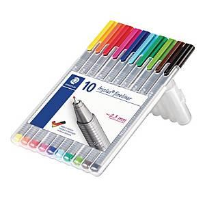 Fineliner Staedtler triplus 334, 0,3 mm, pakke a 10 farver