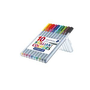 Staedtler 334 Triplus Assorted Colour Fineliner - Wallet of 10