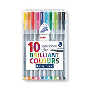 STAEDTLER Triplus Fineliner Assorted Color - Wallet of 10