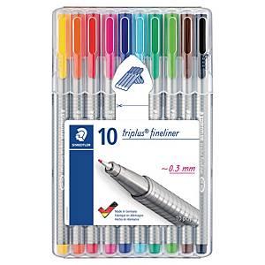 Fineliner Staedtler triplus 334, 0,3 mm, pakke à 10 farger