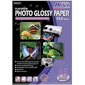 HI-JET PLATINUM PHOTO GLOSSY PAPER A3 150G - PACK OF 10