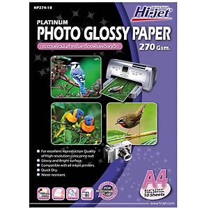 HI-JET กระดาษโฟโต้อิงค์เจ็ท แบบเนื้อมัน A4 270 แกรม 1 แพ็ค บรรจุ 10 แผ่น