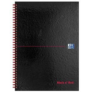 Oxford Black n  Red A4 Glossy Hardback Wirebound Notebook Ruled 140 Pages Black
