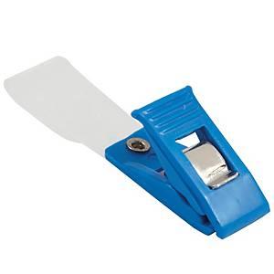 คลิบหนีบบัตรพลาสติก ฟ้า - แพ็ค 20 ชิ้น