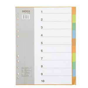 BENNON IX902 Plastic Paper Divider A4 1-10 Part 5 Colours