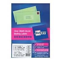 Avery 艾利 J8563 透明噴墨標籤 99.1 x 38.1毫米 每張14個標籤