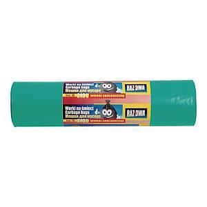 Worki na śmieci LDPE biodegradowalne 240 l, zielone, 5 sztuk
